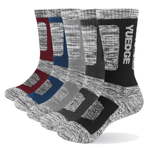5PM1805 Male Cushion Padded Combed Cotton Crew Hiking Socks For Winter Boots( 5 Pairs /Pack)