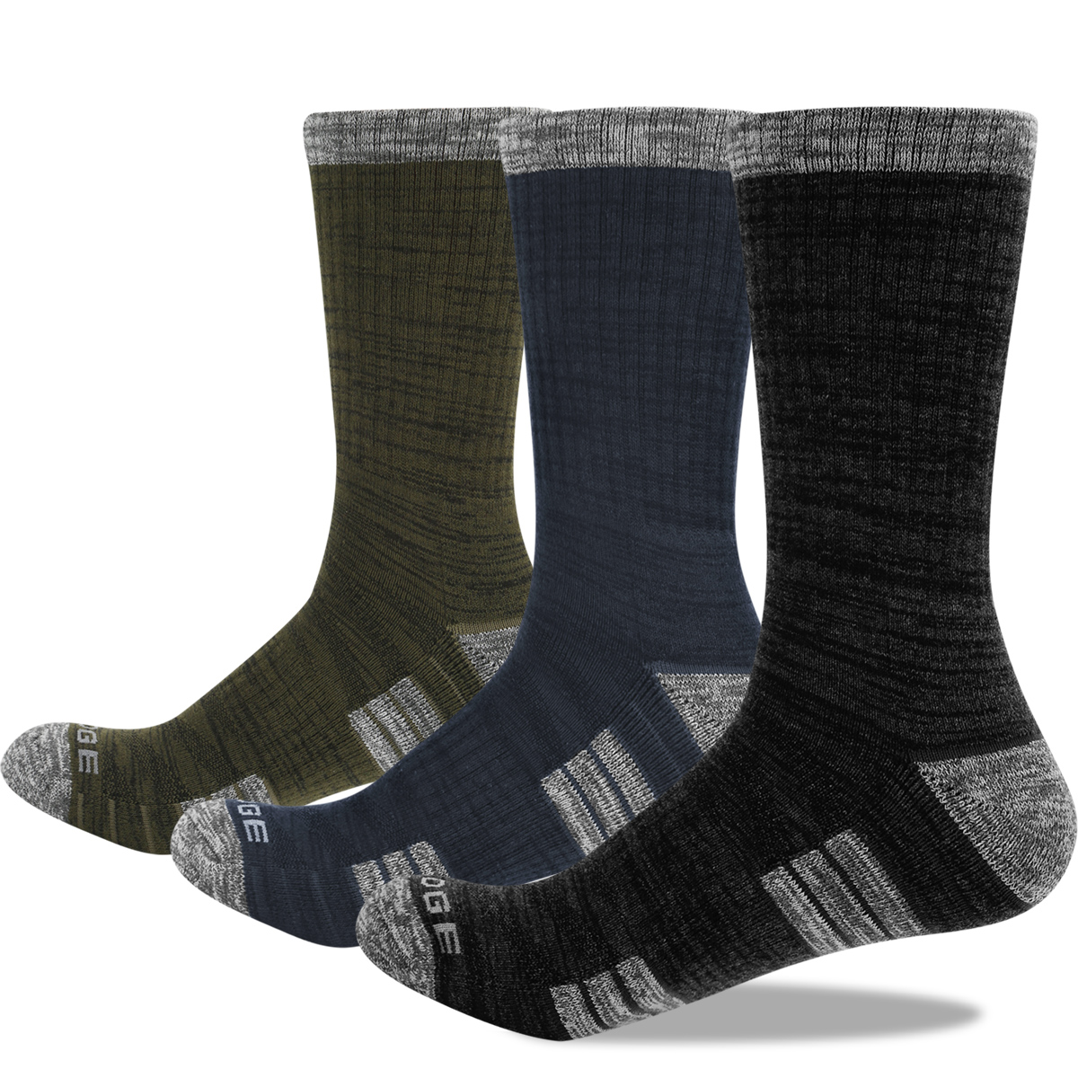 3PM1807 Male Cushion Combed Cotton Crew Hiking Socks Athletic Sports Socks(3 Pairs/Pack)