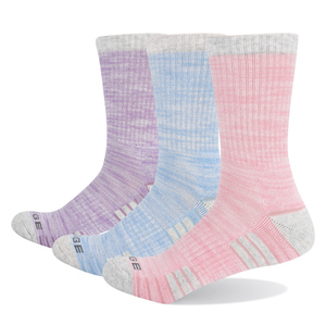 3PW1807 Female Cushion Combed Cotton Crew Hiking Socks Athletic Sports Socks(3 Pairs/Pack)