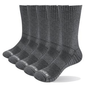 YUEDGE 5 Pairs Mens Outdoor Hiking Walking Socks Cotton Cushion Crew Socks Breathable Wicking Warm Work Socks Multipack Size 6-11
