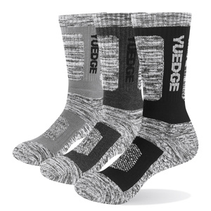 Men Cushion Padded Combed Cotton Crew Hiking Socks For Winter Boots( 3 Pairs /Pack)