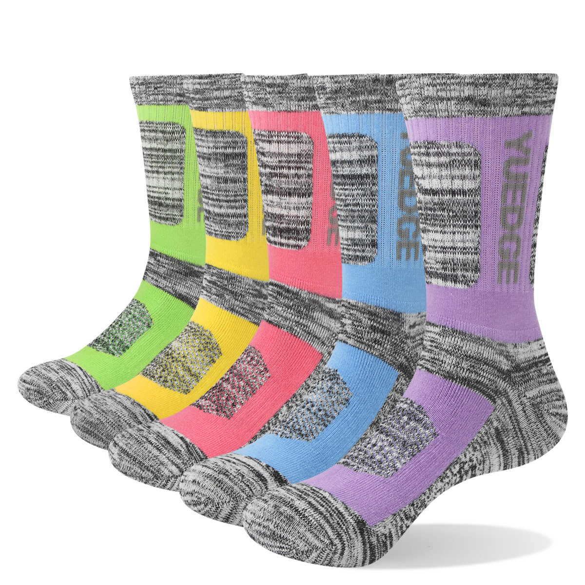 5PW1805 Female Cushion Padded Combed Cotton Crew Hiking Socks For Winter Boots( 5 Pairs /Pack)